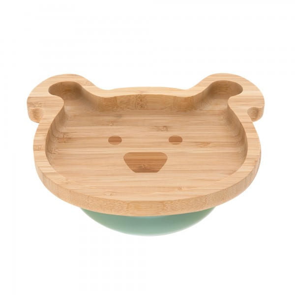 Lässig Platter Bamboo/Wood Little Chums with suction pad/silicone (3 Farben)
